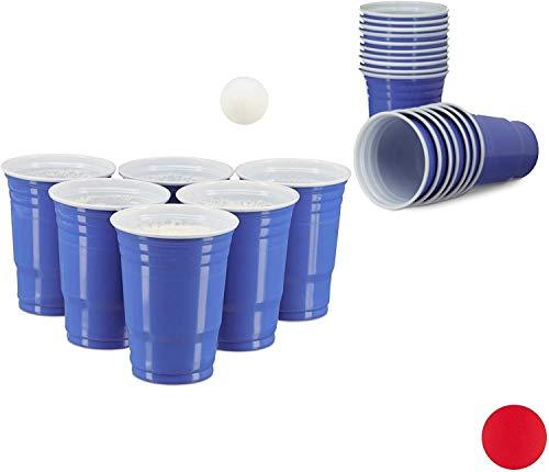 Relaxdays, blau Beer Pong Becher, 50 Stück, stabiler Plastikbecher, Partybecher 16 oz, Trinkbecher Softdrinks u. Bier, Kunststoff, 8.5 cm