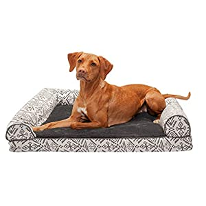 Furhaven Pet Dog Bed – Cooling Gel Memory Foam Plush Kilim Southwest Home Decor Traditional Sofa-Style Living Room Couch Pet Bed with Removable Cover for Dogs and Cats, Boulder Gray, Large