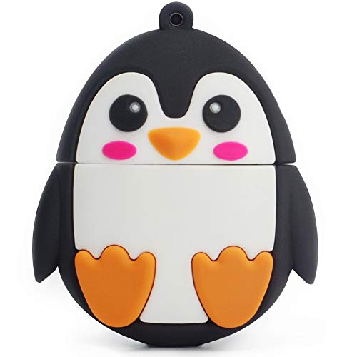 Character Flash Drive 16GB LEIZHAN Pen Drive with Chain Penguin Memory Stick