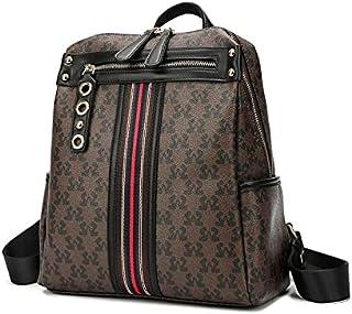 حقيبة ظهر أنيقة من SAGA مع شريط ملون وجيوب خارجية D. لون القهوة/أسود