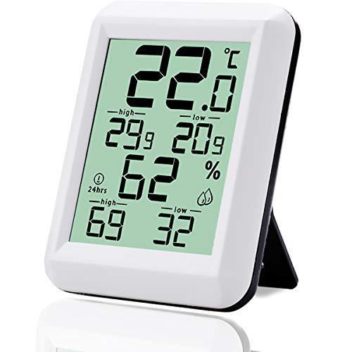 TSAI Thermometer Hygrometer Innen Digitales Thermo-Hygrometer Innen Hydrometer Feuchtigkeit Temperatur und Luftfeuchtigkeitsmesser für Babyraum, Büro, Wohnzimmer, Raumluftüerwachtung