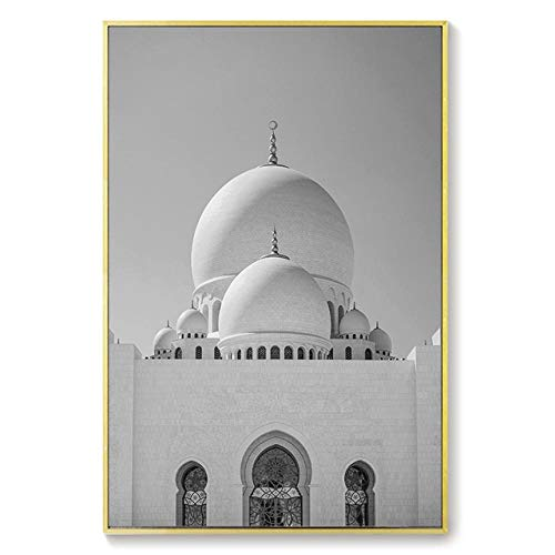 MYSY Nordic Islamic Architecture Poster Abu Dhabi Moschee Wandkunst Leinwanddrucke Zitat Bild Moderne Malerei Home Decoration-50x70cmx1 STK. Kein Rahmen