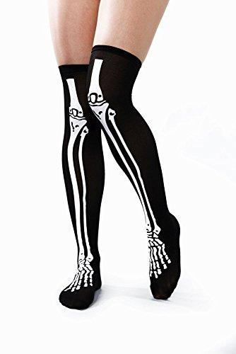 Festartikel Müller halterlose Schwarze Strümpfe Skelett schwarz Karneval Halloween