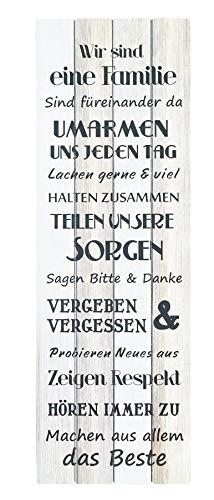 levandeo XXL Wandschild B x H x T: 40x120x2,5cm Holz Familienregeln Familie Sprüche Wandbild Shabby Chic Vintage Holzoptik