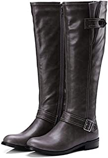 Knee High Winter Boots Women Low Heels Women Boots Plus Size Black Womens Shoes Flats Brand