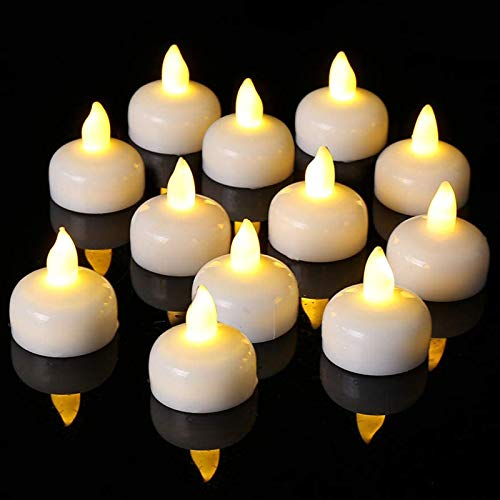 LED Floating Candles, PChero 12pcs Waterproof Flameless Candles Battery Operated Flickering Floating Tea Lights for Wedding, Birthday Party, Bath, Hot Tub, Spa, Pool, Pond [Warm White]