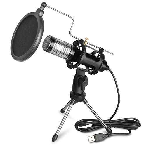 USB Microphone Kits, Feicuan Professional Condenser Microphone for PC Laptop Plug and Play with Double-layer Pop Filter and Mic Stand for Youtube, Facetime, Studio Recording, Broadcasting, Gaming