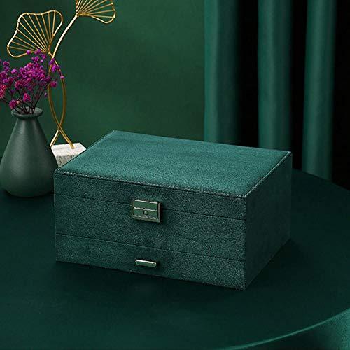 ASDMRQ Caja de joyería, caja de almacenamiento de joyas de tres niveles, caja de joyería de pendiente de collar de anillo, caja de joyería de diseño simple, caja de almacenamiento de joyería de