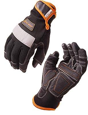 ROLLINGDOG Mechanical fingerless gloves Framer Work Gloves Open-Finger Carpenters Gloves,High Dexterity