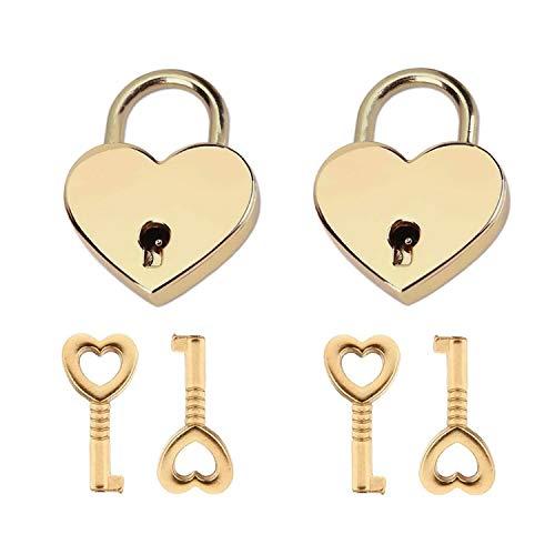 Lirener 2 Sätze Herz Liebe Vorhängeschloss Herzform Schloss Liebesschloss Herzschloss Mit Schlüssel für Gepäck Handtasche Tagebuch Valentinstag, 2 Schlösser 4 Schlüssel