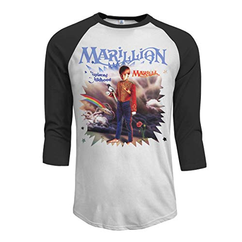 Oaueaiw Marillion Misplaced Childhood Men's 3/4 Sleeve Raglan Baseball T Shirt Black,Black,Small