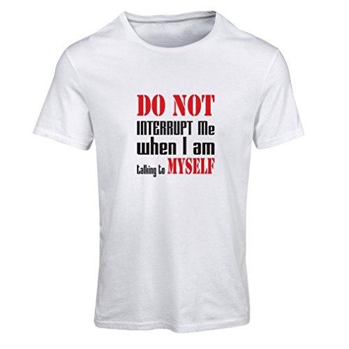 lepni.me T-Shirt Femme Do Not Interrupt (Large Blanc Noir)