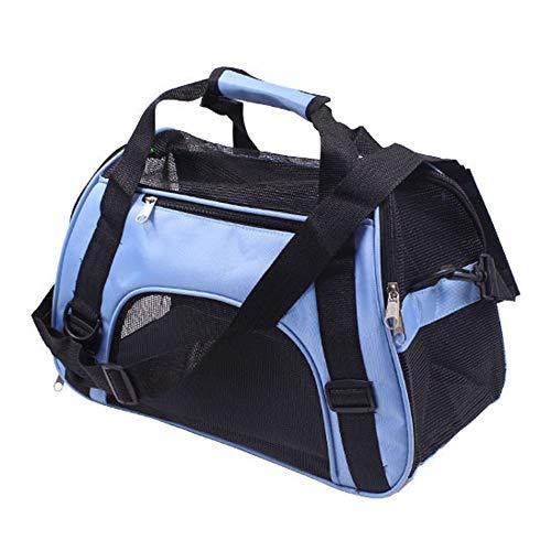 PUAO Tragbare Haustier-Tragetasche, Hunde-Handtasche, Welpen, faltbar, Haustier-Reisetasche, Fluggesellschaft genehmigt für Katzen und kleine Hunde (M, blau)