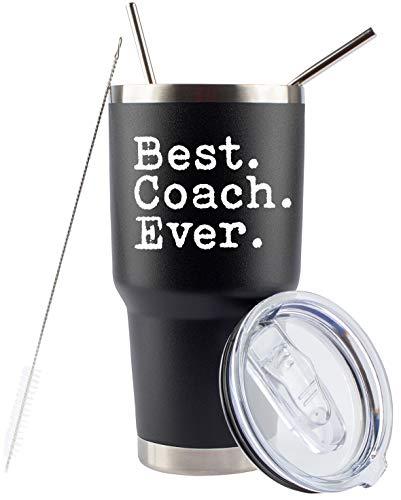 Coach Gifts | Best Coach Ever | Steel Travel Tumbler/Mug/Cup w Lid and 2 Straws | Basketball Coffee Gift Idea for Best Coaches of Soccer Baseball Football Hockey Globodyne Tumblers (30 Ounce, Black)