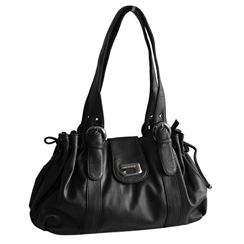 Schultertasche von Jennifer Jones - Moderne DamenHandtasche Umhängetasche Shopper Henkeltasche Damentasche (Schwarz) - präsentiert von ZMOKA®