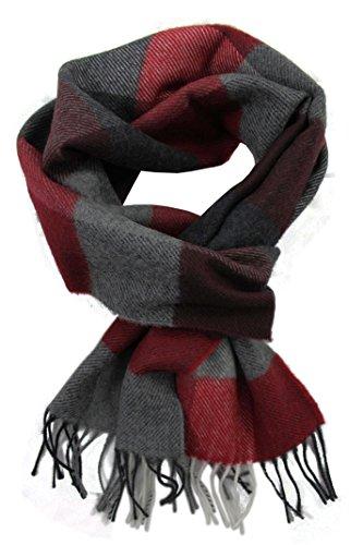 Rotfuchs Wollschal Winterschal Herrenschal weich & Warm Karo modisch Wolle Made in Germany (rot grau schwarz, 180 x 29 cm)