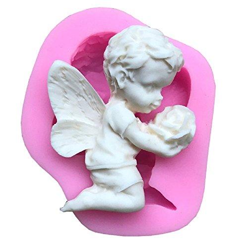Siliconen mal voor voedselgebruik van een engel met een roze bloem in zijn handen - suikerpasta - fondants - cakes - pannenkoeken - muffins - decoraties