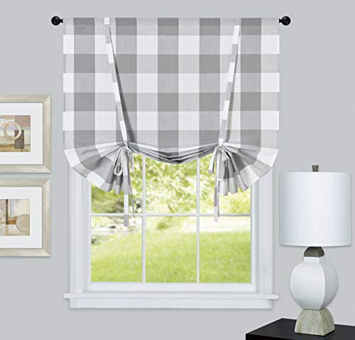 GoodGram Country Lodge Farmhouse Buffalo Check Plaid Gingham Tie Up Window Curtain Shades - Assorted Colors (Gray)