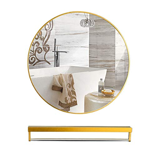 Espejo De Baño, Aleación De Aluminio Espejo De Pared Baño Espejo De Tocador Espejo Espejo Decorativo A Prueba De Explosiones De Alta Definición + Estante De Almacenamiento Multifuncional,Dorado,40CM