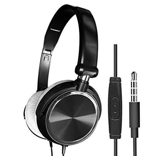 Baslinze Headset DJ Bass Kopfhörer Headset mit Mikrofon 3,5 mm über Ohr verdrahtet Stereo-Kopfhörer Faltbar In Ear Kopfhörer Headphone Headset Sport Ear Ohrhörer Wireless Earphone (Schwarz)