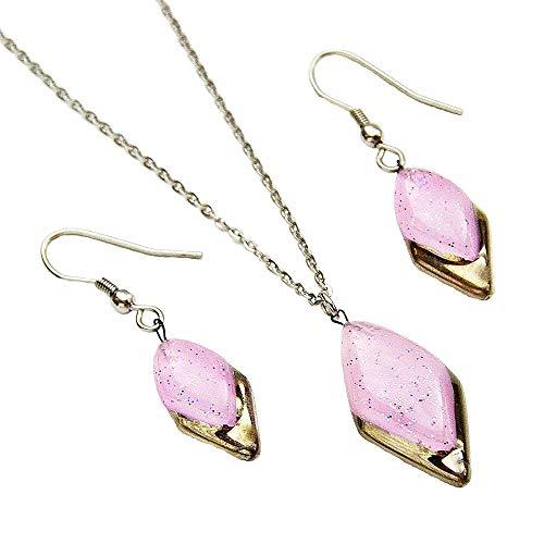 Designer-Schmuckset • Lila Halskette und Ohrringe • Handgefertigtes Böhmenglas mit Platin und Glitzern • Tropfenform