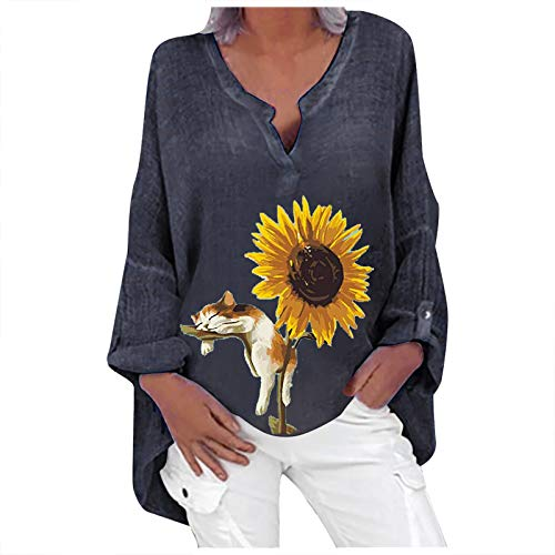 Las mujeres de moda casual de manga larga con cuello en V de algodón y lino camiseta casual, gato de girasol impreso más el tamaño de la camisa suelta blusa Top