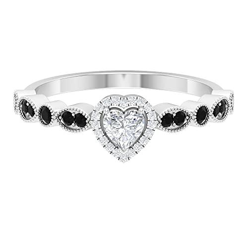 Anillo de compromiso de diamante en forma de corazón de 1/2 quilates con ónix negro (calidad HI-SI), oro blanco, ónix negro, tamaño: UK Q1/2
