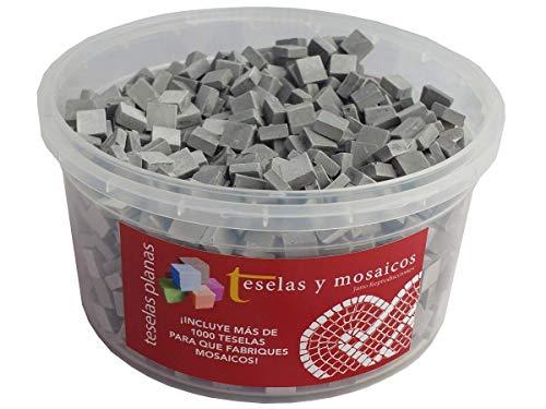 Cubo 1000 teselas grises para mosaico planas de 7,5x7,5x3 mm. + regalo cola blanca uso escolar