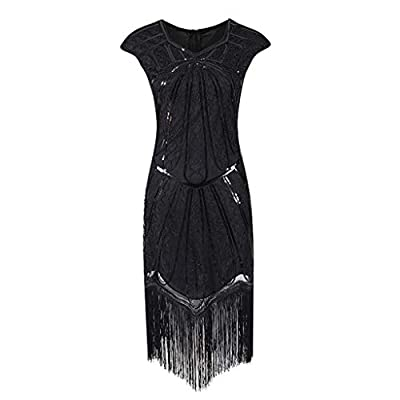 Oldlover-Women Flapper Dresses 1920s Beaded Fringed Great Gatsby Dress Cocktail Party Dress Sequin Evening Dress