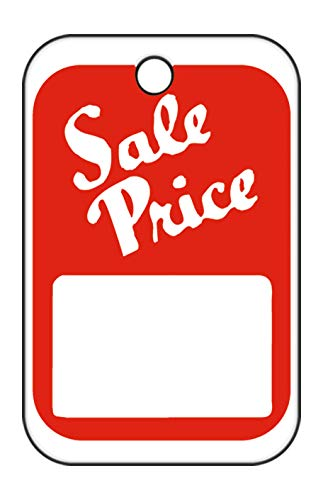 """Unstrung Red/White Sale Price Non-Perforated Price Tags - 1 ¼""""W x 1 7/8""""H - Pack of 1000"""