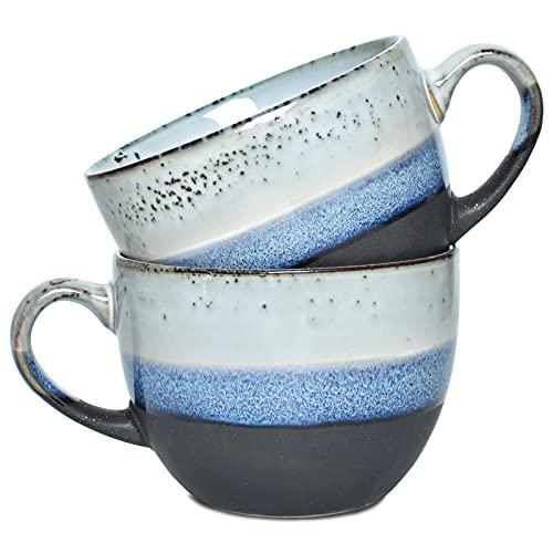 Bosmarlin Large Stoneware Coffee Latte Mug Set of 2, Ceramic Jumbo Soup Mugs for Office and Home, 18 Oz, Dishwasher and Microwave Safe (Black, 2)