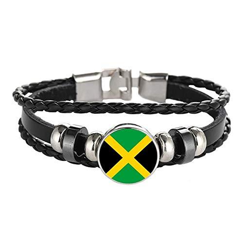 Wedare Souvenir Bandera de Jamaica Pulsera Trenzada Cadena de Cuero Pulsera de Cristal Recuerdo, Pulsera Hecha a Mano de Moda para Hombre y Mujer día