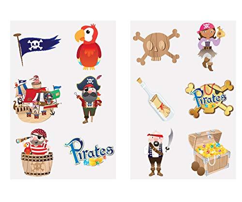 KINPARTY ® - 84 x Tatuajes Temporales Piratas Diseños Surtidos para Niñas/Niños – Tatuajes para regalos de cumpleaños, fiestas, celebraciones, relleno de piñatas, regalos sorpresa