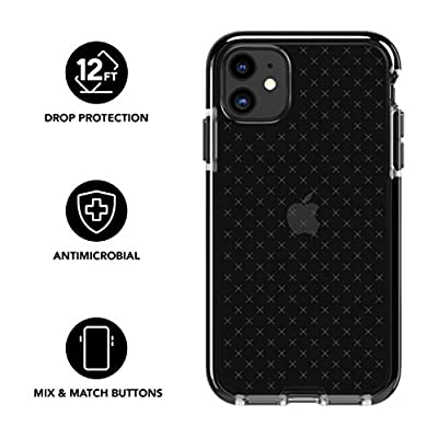 tech21 Evo Check Phone Case for Apple iPhone 11 - Hygienically Clean Antimicrobial Properties with 12ft Drop Protection, Smokey Black