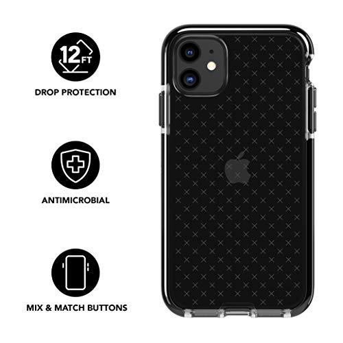 Tech21 Evo Check Schutzhülle für iPhone 11 Pro Max - Schützende Dünne Schale Beständig Handyhülle - Rauchig/Schwarz