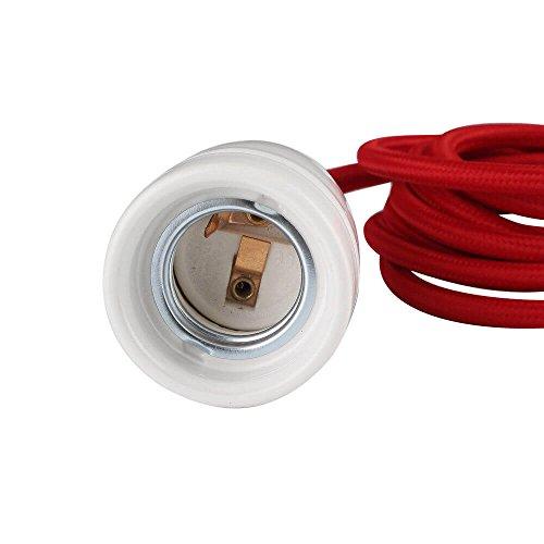 Design Set - Textilkabel verschiedene Farben mit Keramik-Lampenfassung E27 und weißem Baldachin (bordeaux rot)