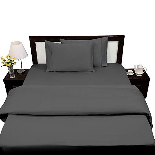 4PCs 100% Certified Giza Cotton Bed Sheets Set,King Size Giza Dream Sheets, Long Staple Embroidered Giza Fitted Sheet, Fits Mattress Upto 15'' Deep Pocket  Dark Grey Solid
