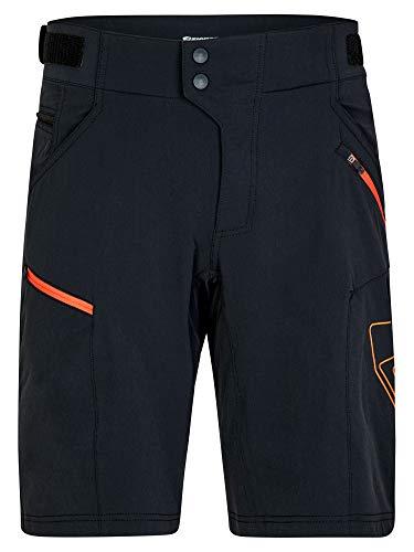 Ziener Herren NEONUS X-Function Fahrrad-Shorts/Rad-Hose mit Innenhose/Mountainbike - atmungsaktiv|schnelltrocknend|gepolstert, Black.orange pop, 50