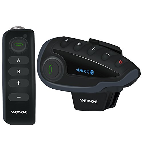 VNETPHONE® V8 Bluetooth Motorcycle Intercom Motorcycle Communication System with Remote Controller FM NFC 5 Riders Range 1200M