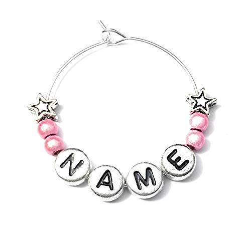 Libby's Market Place Personalised Name Wine Glass Charm with Stars on a Gift Card