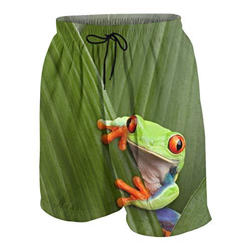 Herren Beiläufig Boardshorts,Roter Augen Laubfrosch, der exotisches Makroblatt Costa Rica Regenwald tropische Natur versteckt,Schnelltrocknend Badehose Strandkleidung Sportbekleidung mit Mesh-Futter