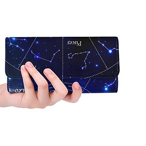 Einzigartige benutzerdefinierte Sternzeichen Sternbilder Leo Jungfrau Skorpion Waage Frauen Trifold Wallet Lange Geldbörse Kreditkarteninhaber Fall Handtasche