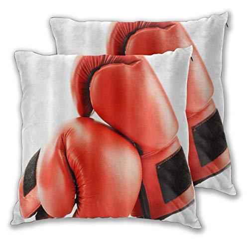DECISAIYA Funda de Cojín Suave,Red Boxing Gloves Tema del Juego Deportivo,Funda de Almohada Cuadrado para Sofá Cama Decoración para Hogar 40x40cm,Set de 2