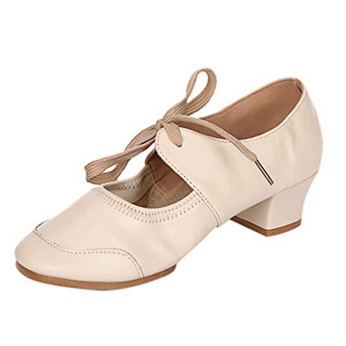 Damen Sandalen Tanzschuhe Sandalette Mary Jane Halbschuhe Pumps High Hesls Closed Toe Schnürhalbschuhe Sommer Sandals Freizeitschuhe(2-Beige/Beige,34) 1756