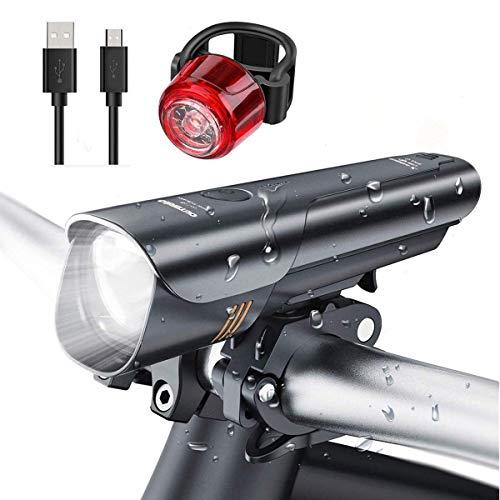 Set di luci per Bicicletta, Super Luminose, LED 600 Lumen, Ricaricabile Tramite USB, IPX5, Impermeabile