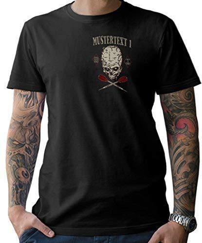 NG articlezz Camiseta Hombre Dardos Calavera Camiseta – Personalizable con Texto Deseado S-5XL con Frontal y Estampado en la Espalda - Negro/Negro, M