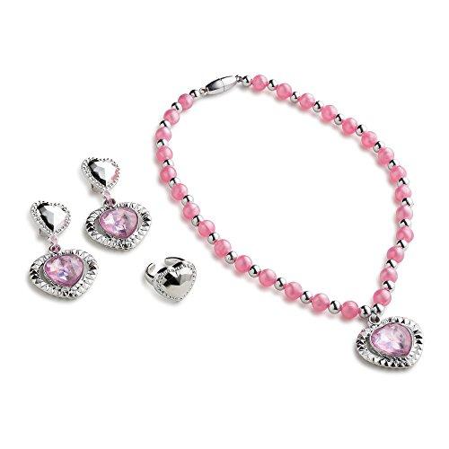 Dress Up America Pink Princess Set de bijoux pour les filles qui contient le collier princesse, princesse boucles d'oreilles et le bracelet princesse