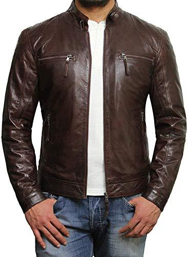 Brandslock - Giacca da uomo in vera pelle di agnello, per motociclista Marrone M