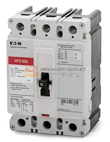 New Cutler-Hammer Eaton HFD3030 Circuit Breaker 3 Pole HFD 30A 600V 65kA