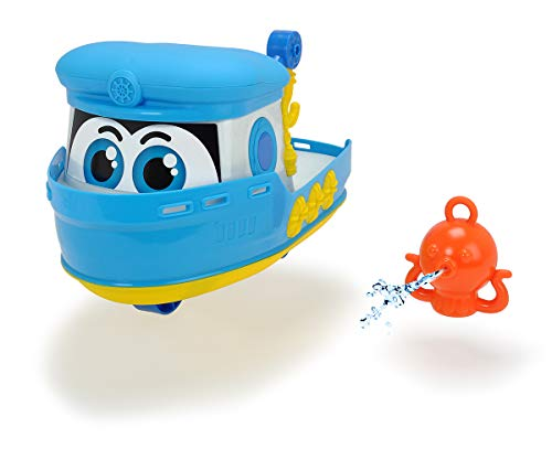 Dickie Toys Happy Boot, Spielzeugboot für Kleinkinder, ab 1 Jahr, schwimmfähig, inkl. Krake mit Wasserspritzfunktion, 25 cm